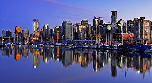 sunset urban canada reflection skyline vancouver twilight bc harbour
