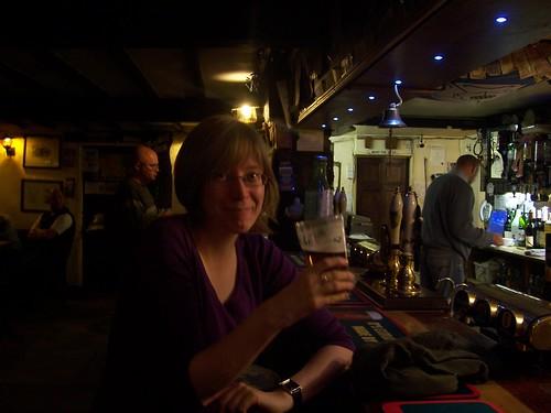 Enjoying a pint at the Tan Hill Inn