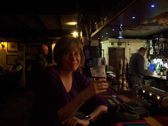 Enjoying a pint at the Tan Hill Inn