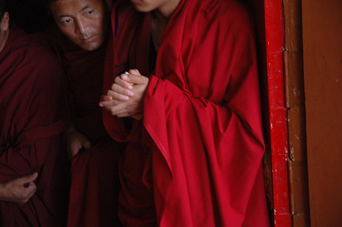 Monks eagerly awaiting the Lama's arrival, So very happy! Lam Dre, Tharlam Monastery of Tibetan Buddhism, Boudha, Kathmandu, Nepal by Wonderlane
