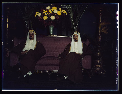 Amir Khalid [right] and Amir Faisal, sons of King Ibn Saud of Saudi Arabia. Their Royal Highnesses recently concluded an extensive visit in the United States as guests of the government. They have made a special study of irrigation projects in the United