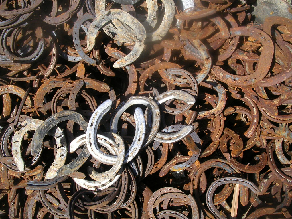 Unshod we rust A heap of horseshoes near Rodmell. Lewes to Saltdean via Rodmell