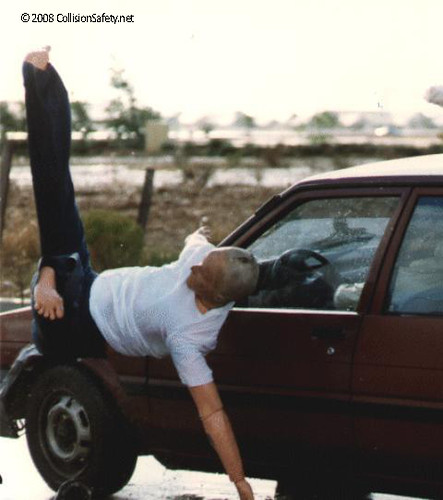 A Car To Pedestrian Crash Test Showing The Dummy Falling