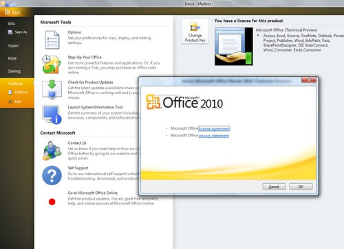 Office 2010 under Windows 7 screenshot
