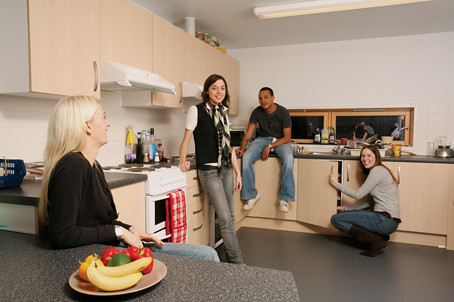 Student Village - each flat has a fully equipped kitchen