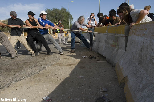 Direct Action, moving roadblocks near Jaba, 03.11.07, Palestine.