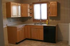 floor, kitchen, countertop, room, property, interior design, hardwood, cabinetry, flooring, sink,