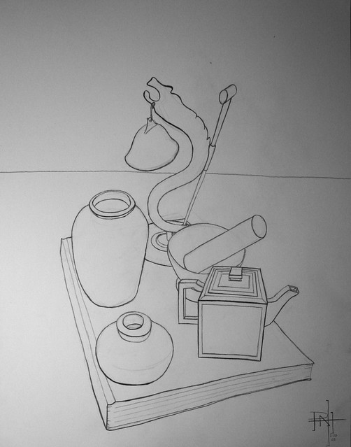 Contour Line Drawings Of Figures Or Objects : Objects in perspective contour line drawing pencil