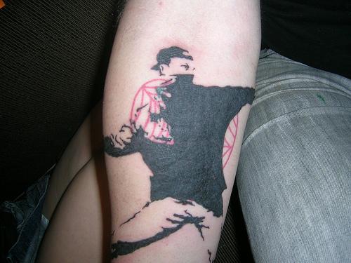 My Banksy tattoo i love tattoos and banksy seemed like a good idea to mesh