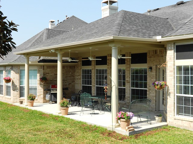 Patio cover designs casual cottage for Blueprints for patio covers