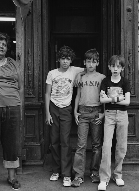 Three Boys and a Mother, Tenth Avenue, 1980s (Carl Burton)