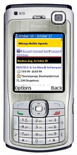 Milonga Mobile agenda on Nokia N70