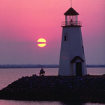 Lighthouse on eastern shore of Lake Hefner