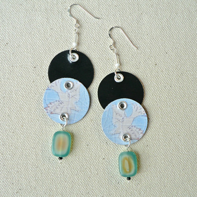 """Ciao, Uccellino!"" 2-Tier Drop Earrings with Painted Agate"