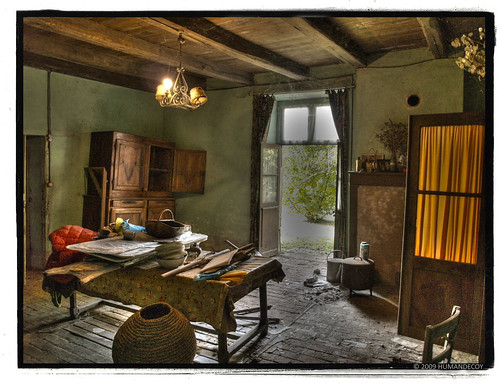 Room in an ancient abandoned farmhouse in France