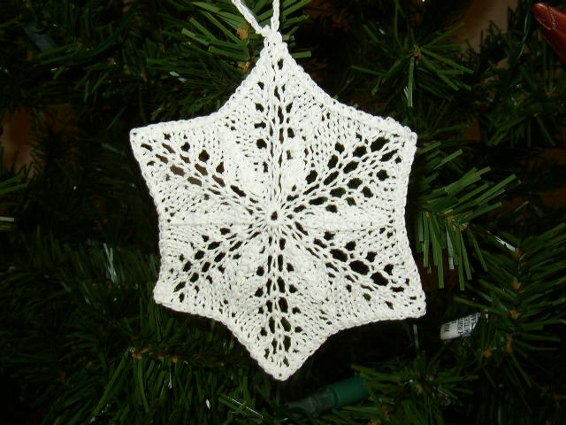 Knitted snowflake ornament Flickr - Photo Sharing!