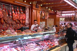 Cold meat stalls at the Mercado Central