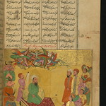 Illuminated Manuscript, Collection of poems (masnavi), King Solomon hears the complaint of an ant who was blown off the wall and got wounded, Walters Art Museum Ms. W.626, fol. 156b