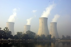 pollution, industry, cooling tower, power station, nuclear power plant,