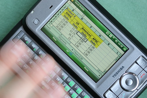 Excel Mobile close-up with stylus