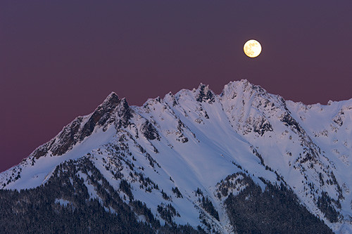 Full Moon Over Nooksack Ridge, North Cascades, Washington