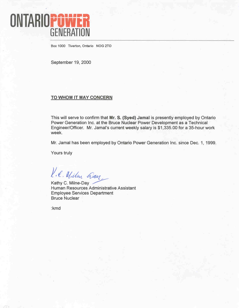 CONFIRMATION OF EMPLOYMENT LETTER CONFIRMATION OF