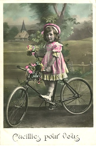 Vintage Postcard ~ Girl on Bicycle