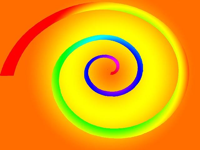 Orange rainbow spiral