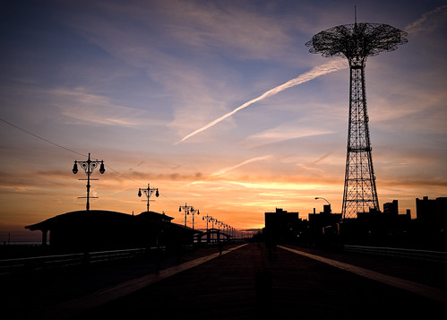 sunset brooklyn coneyisland boardwalk amusementpark rollercoaster breslow nikond3 silhouettephotography