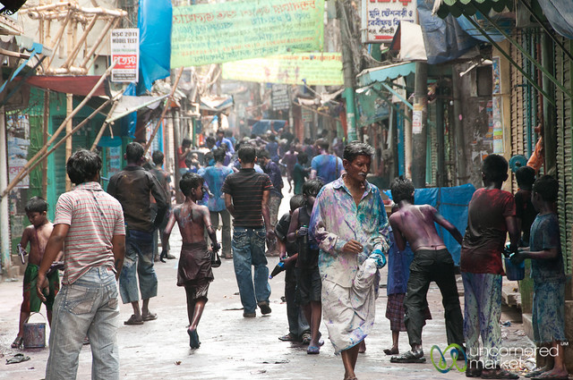 Street Scene in Shakhari Bazar for Holi - Old Dhaka, Bangladesh