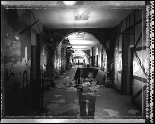 old abandoned polaroid decay hallway 4x5 type55 asylum largeformat dilapidated sinar dejarnette multipop dejarnettestatesanitorium