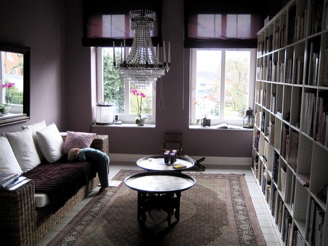 Library in plum/mauve   Love this colour  Jakob is idling ar