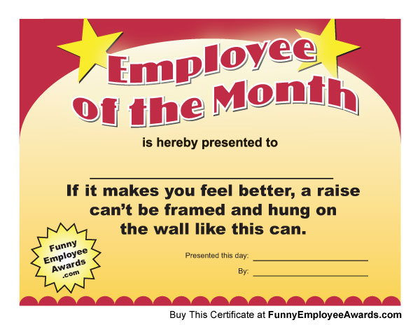 funny employee of the month certificate employee of the month - Employee Of The Month Award