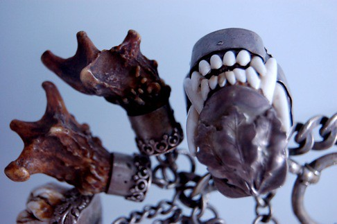 Chain of Austrian Hunting Charms - Fangs, Hooves and Horn, detail