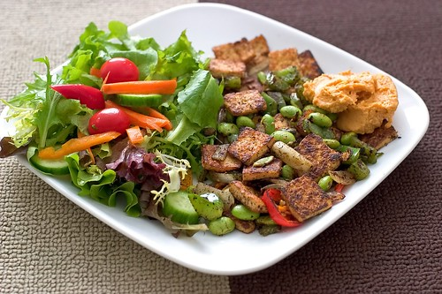 Stir fried tofu with edamame