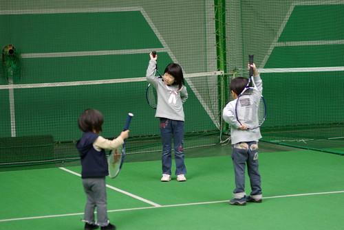 テニスの前の準備運動