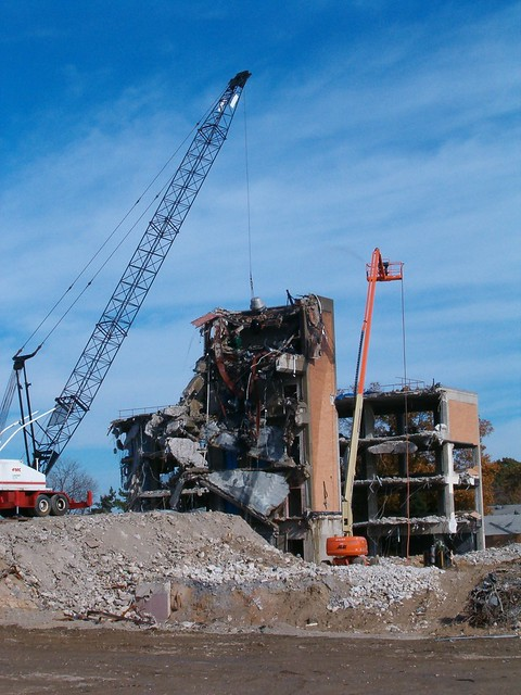 Wrecking Ball Building : Crane with wrecking ball demolishes building in new jersey