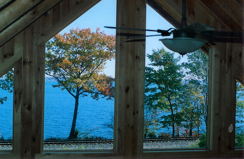 autumn lake tree window cabin view seneca pinewoodparadise