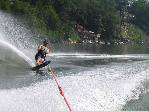sunset lake ski water boat spray slalom waterski nautique