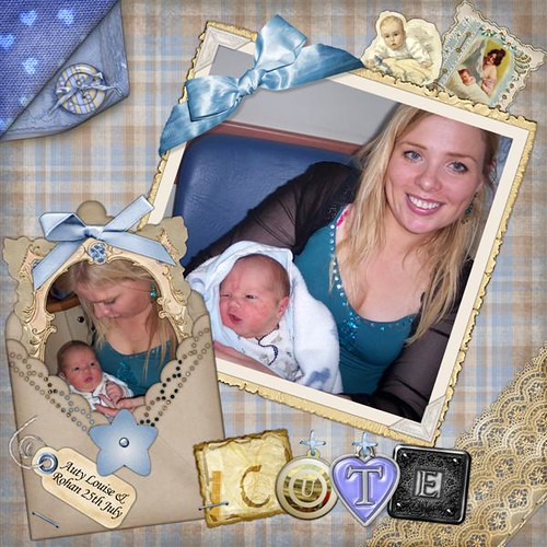 Aunty Louise and New born Rohan scrapbooking page