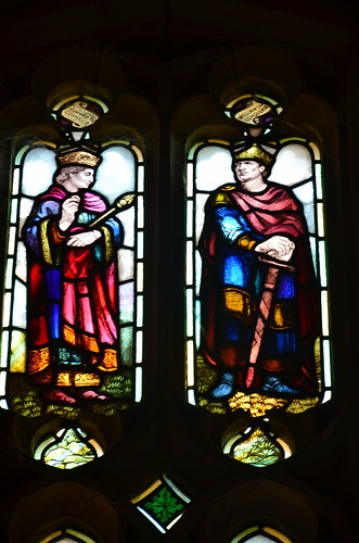 Edward the Confessor and William the Conqueror stained glass windows at Worcester Cathedral