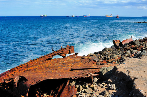 Ships waiting in front of the harbour of Las Palmas GC