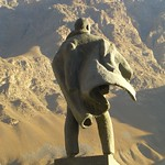 Lenin Statue Looking at Mountains - Khorog, Tajikistan