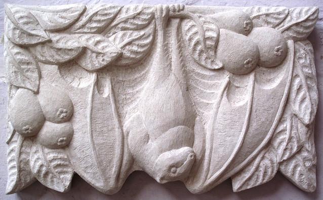 Bat. Hand carved limestone.