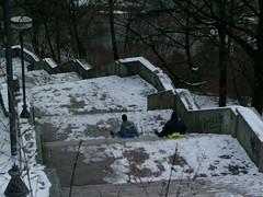 Sledding in Letna