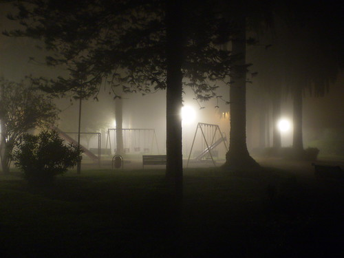 Park under fog