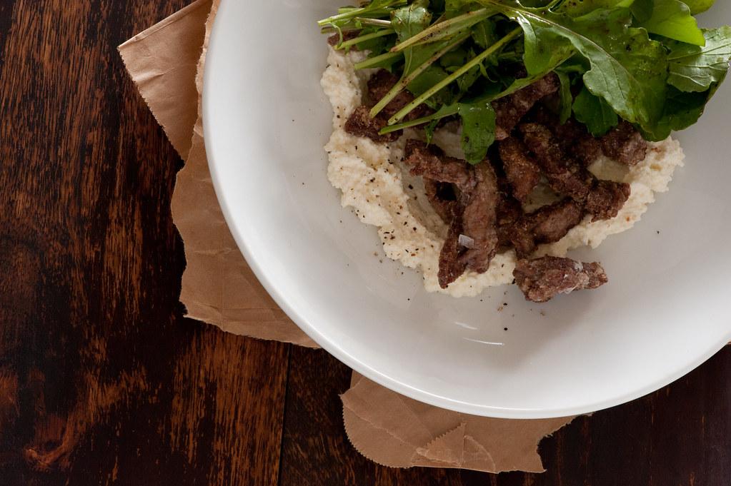 crisp beef, balsamic & ricotta salad
