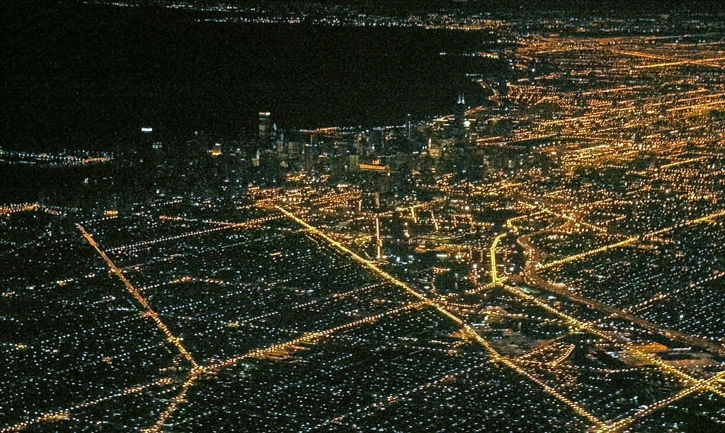 Chicago from above - at night