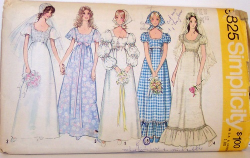 VIntage Simplicity Pattern 9825 Wedding Prom Formal Dress Mod Empire Puff sleeves Size 12