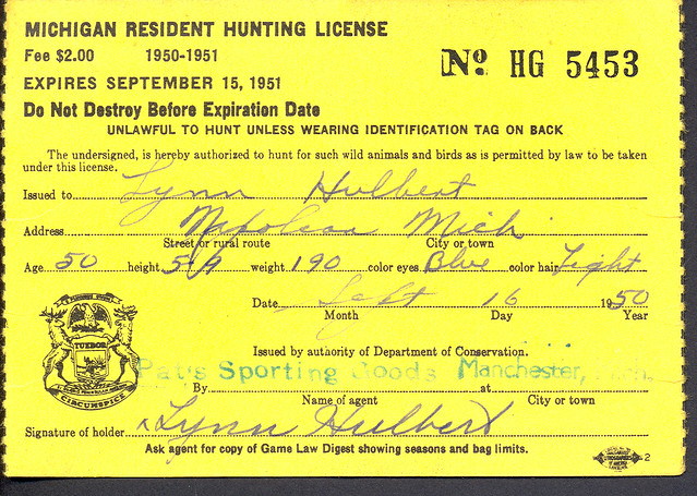 1950 michigan resident hunting license back w duck stamp for Nc wildlife fishing license